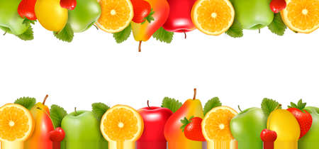 Two borders made of delicious ripe fruit. Vector