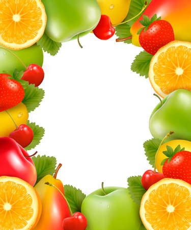 fruited: Frame made of fresh, juicy fruit.