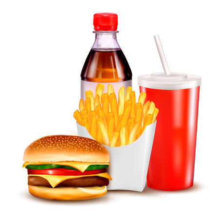 american food: Group of fast food products. illustration.