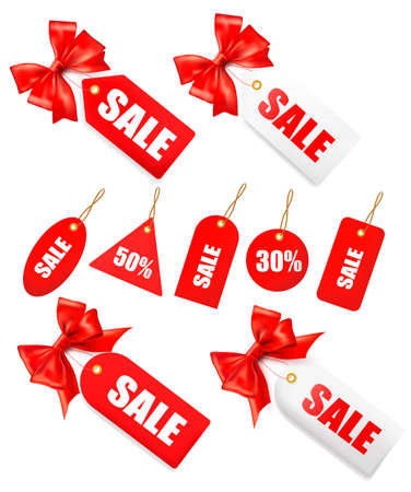 blank note tag: Big set of sales tags with red gift bow and ribbons illustration