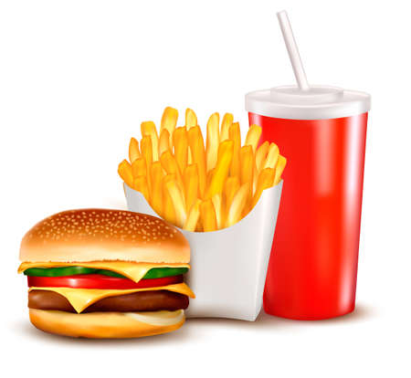 cheeseburger: Group of fast food products  illustration