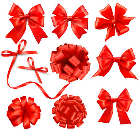 ribbons:  Big set of red gift bows with ribbons