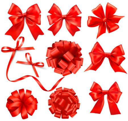 christmas ribbon:  Big set of red gift bows with ribbons