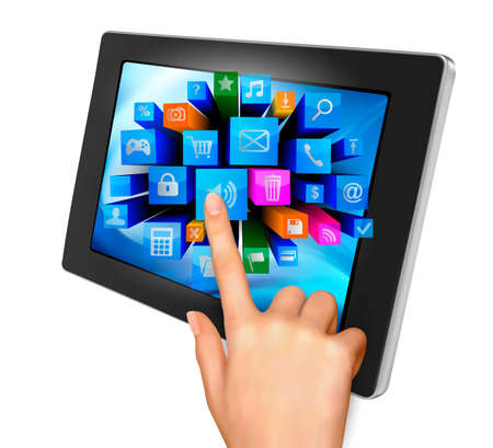 Hand holding touch pad pc and finger touching it s screen with icons   Stock Vector - 14487928