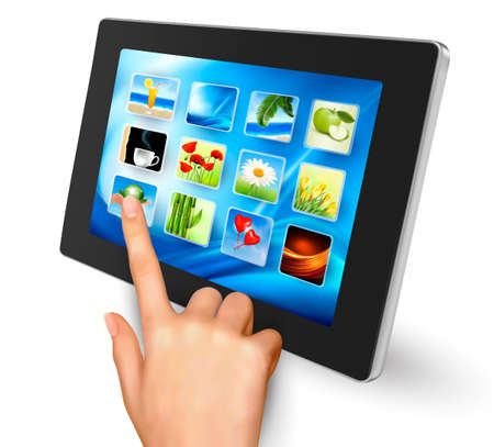touch screen interface: Hand holding touch pad pc and finger touching it s screen with icons