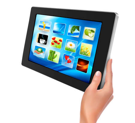 Hand holding touch pad pc and finger touching it s screen with icons Stock Vector - 14487953