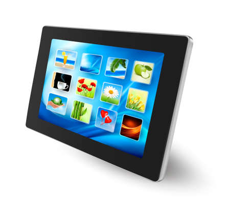 Tablet pc  with icons    Illustration