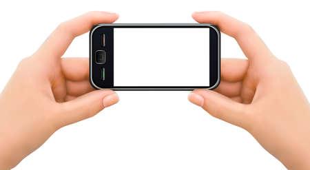 alzando la mano: Dos manos que sostienen tel�fono m�vil inteligente con la ilustraci�n de la pantalla en blanco