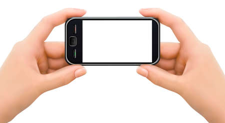 cellphone in hand: Two hands holding mobile smart phone with blank screen  illustration