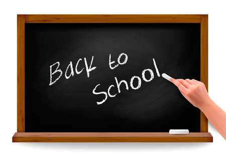 Back to school. Hand writing on a blackboard. Stock Vector - 14487934