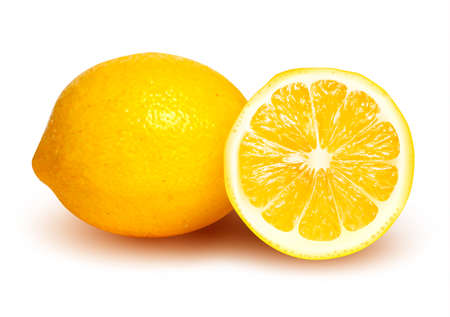 lime juice: Fresh lemon and lemon slice.  Illustration