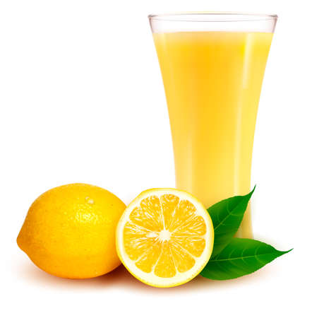 Fresh lemon and glass with juice.