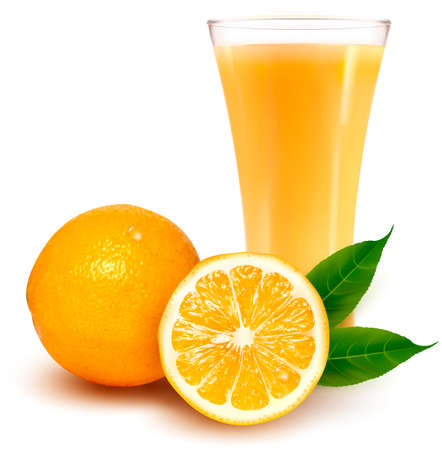오렌지: 주스와 신선한 오렌지와 유리.