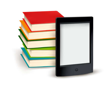 digital library: Stack of books and e-book