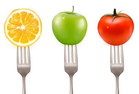 Zitrone, Tomate und Apfel auf Gabel Konzept der Diät