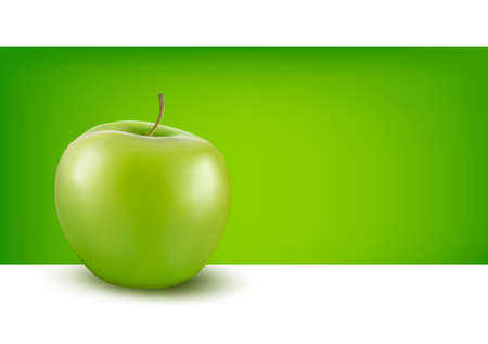 Green apple in front of green background Stock Vector - 14557619