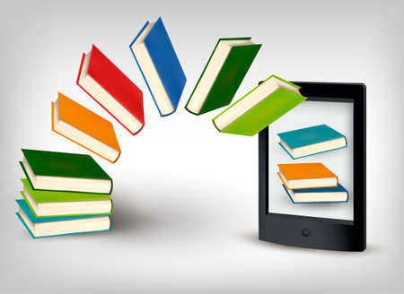 electronic book: Books flying in an e-book