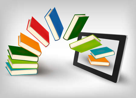 digital book: Books flying in a tablet