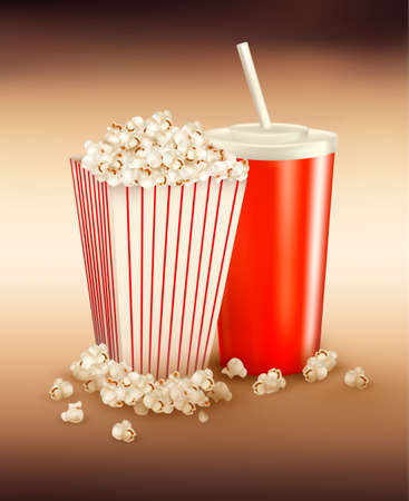 Popcorn and a drink  Vector
