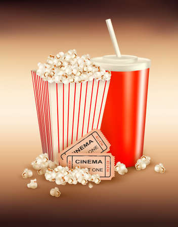 movie popcorn: Popcorn, drink and two tickets