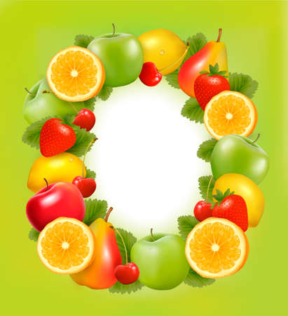 Frame made of fresh juicy fruit  Vector  Vector