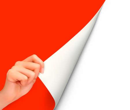 hoja en blanco: Hoja de papel con la mano Vectores