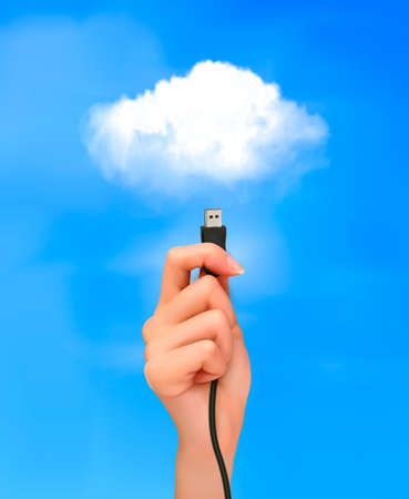 Hand holding cable connected to the cloud  Concept of cloud computing  Ilustracja