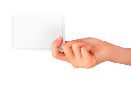 hand holding paper: Hand holding paper card illustration