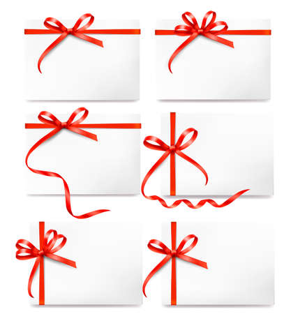 Set of card note with red gift bows with ribbons Vector Vector