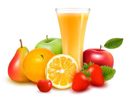 orange juice glass: Frutta fresca e succhi di illustrazione vettoriale