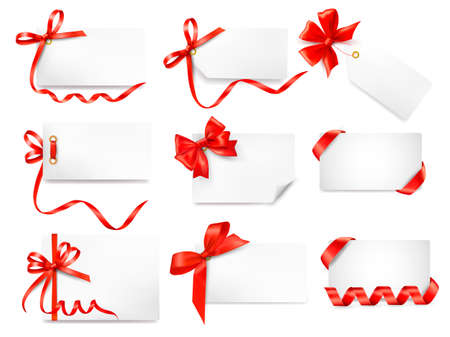 ribbon: Set of card note with red gift bows with ribbons Vector Illustration