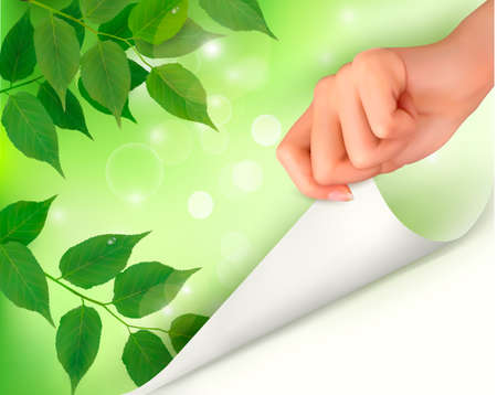 Nature background with green fresh leaves and hand  Vector illustration  Vector