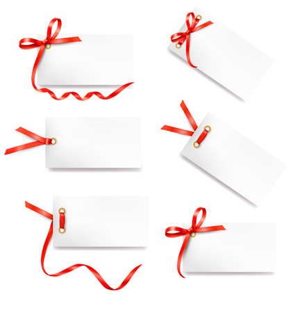 tags: Set of card note with red gift bows with ribbons Vector Illustration
