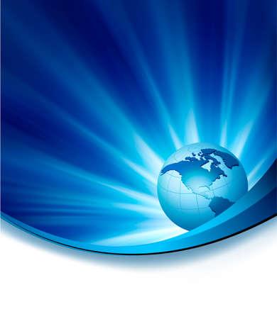 business concept: Blue elegant abstract background with globe illustration Illustration