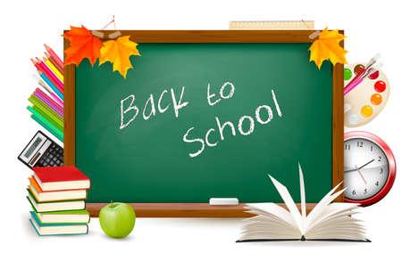 utiles escolares: Escritorio Volver a la escuela verde con �tiles escolares Vectores