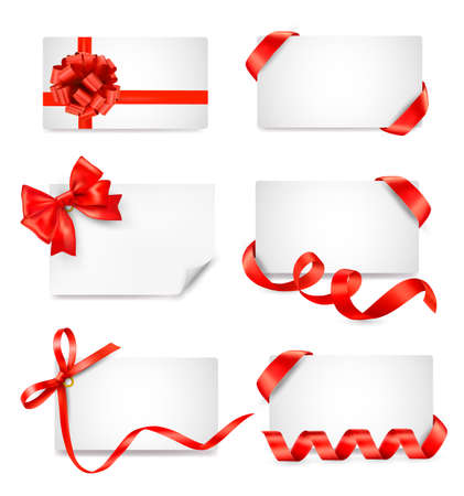Set of card notes with red gift bows with ribbons Stock Vector - 14838574