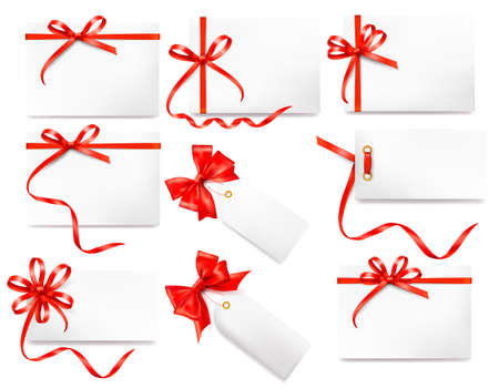 Set of card notes with red gift bows with ribbons  Stock Vector - 14838584