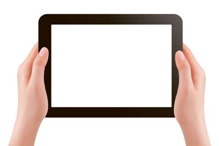 input device: Manos que sostienen ilustraci�n digital tablet pc Vectores