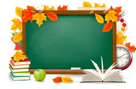 high school student: Volver al escritorio de la escuela verde con �tiles escolares y hojas de oto�o Vectores