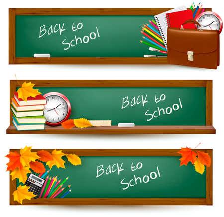 objetos escolares: Conjunto de banners de nuevo a la escuela