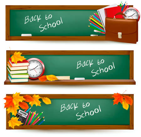 school border: Set of back to school banners