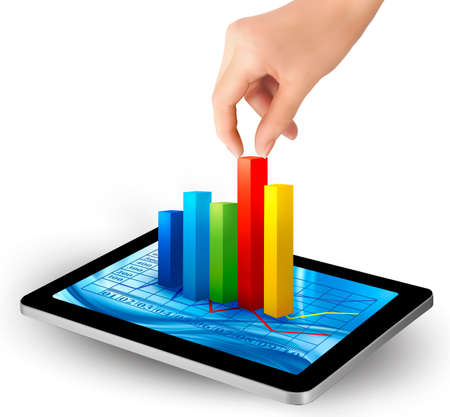 financial statements: Tablet screen with graph and a hand