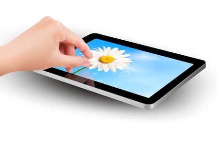 smartphone mano: Inserire le dita per lo zoom dello schermo tablet s
