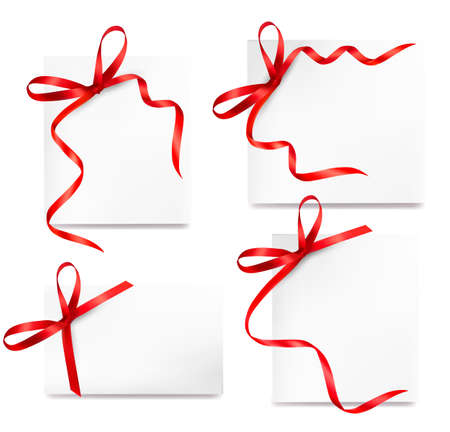 Set of card note with red gift bows with ribbons Vector Stock Vector - 14950483