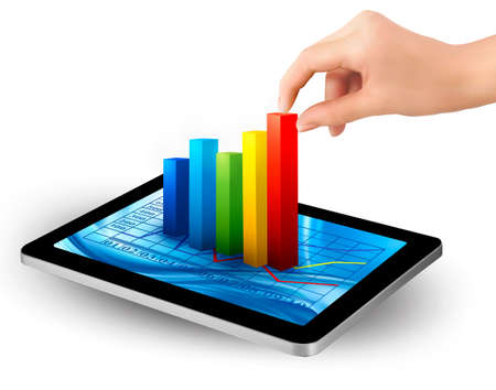 Tablet screen with graph and a hand  Vector  Vector