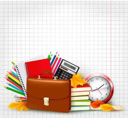 Retour à l'école de base avec des fournitures scolaires et des feuilles d'automne Vecteurs