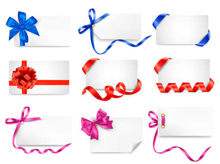 Set of card note with colorful gift bows with ribbons Stock Vector - 15039470