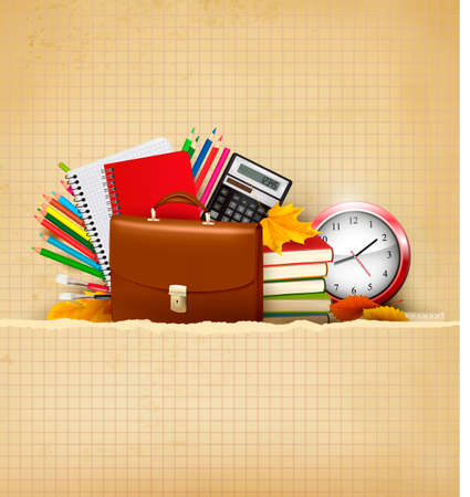 high school students: Back to school  Background with school supplies and old paper