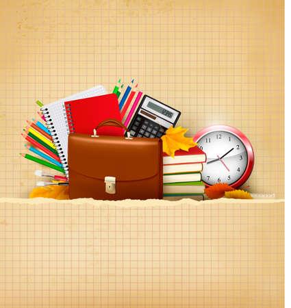 Retour à l'école avec fond fournitures scolaires et vieux papiers