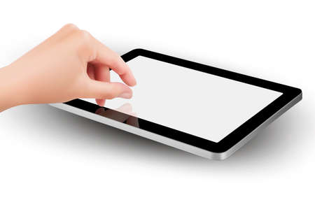 pinching: Fingers pinching to zoom tablet s screen
